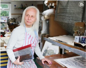 Joy Godfrey, Screen Print Artist from West Yorkshire in her print room